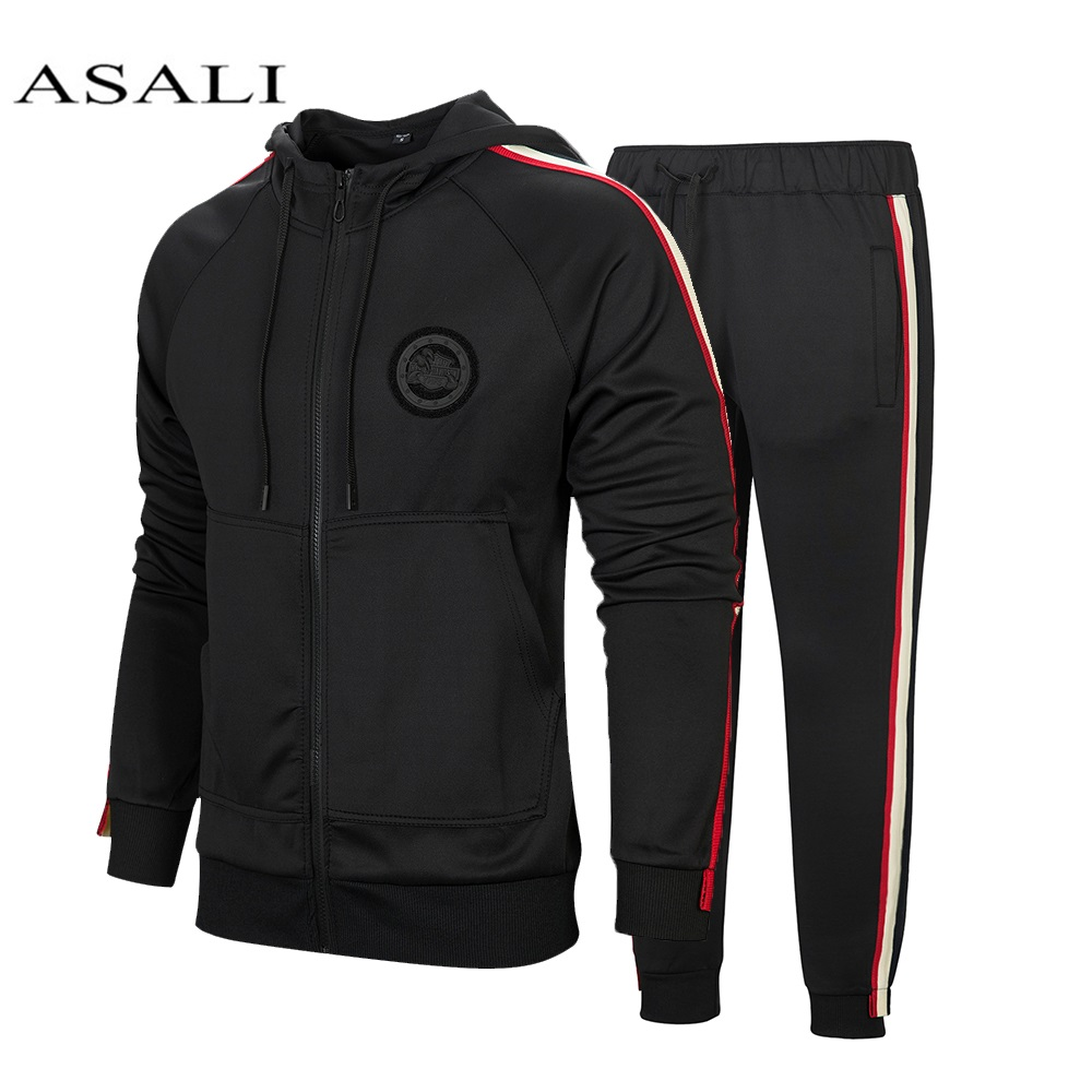 Winter Striped Tracksuit Men Casual Hooded Zipper Gyms Sportswear 2Pcs Jacket Jogger Suit Male Tracksuit Sets High Street Brand