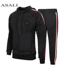 Winter Striped Tracksuit Men Casual Hooded Zipper Gyms Sportswear 2Pcs Jacket Jogger Suit Male Tracksuit sets High Street Brand(China)