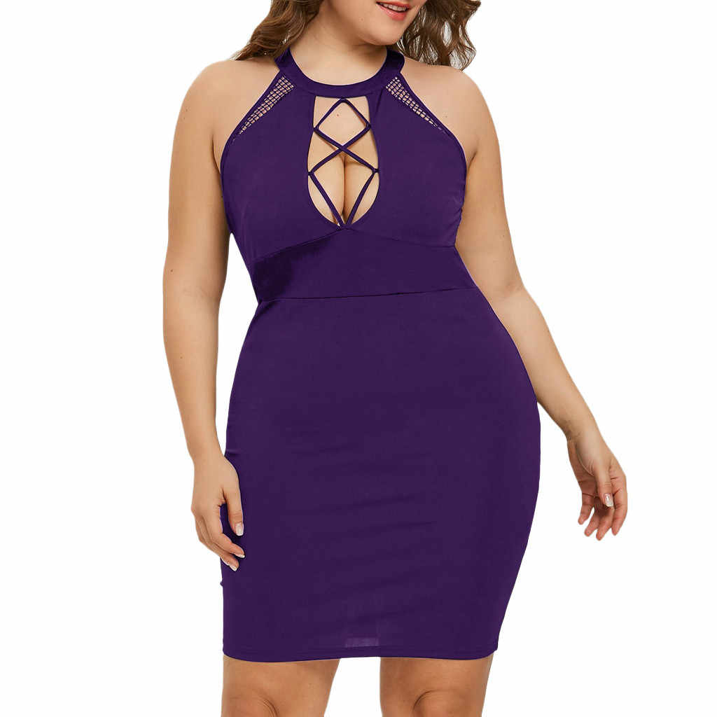 Dress Party Longue Femme Vrouwen Plus Size Sexy Opknoping Hals Mesh Opengewerkte Slanke Mini Jurk L-5XL Poppen Vrouwen Teddy Lenceria sexy