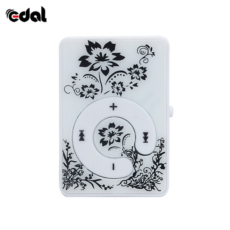 Mini Portable MP3 Music Player  Printing Flower Mirror Clip Support 8GB SD TF Card USB Digital 5 Colors