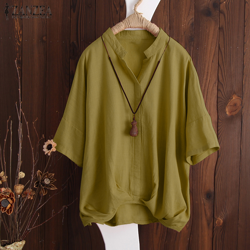 2018 Summer ZANZEA Blouse Women Casual Loose V Neck Shirt Solid Baggy Blusa Feminina Pleated Hem Bat Sleeve Blusas Work Tops 5XL