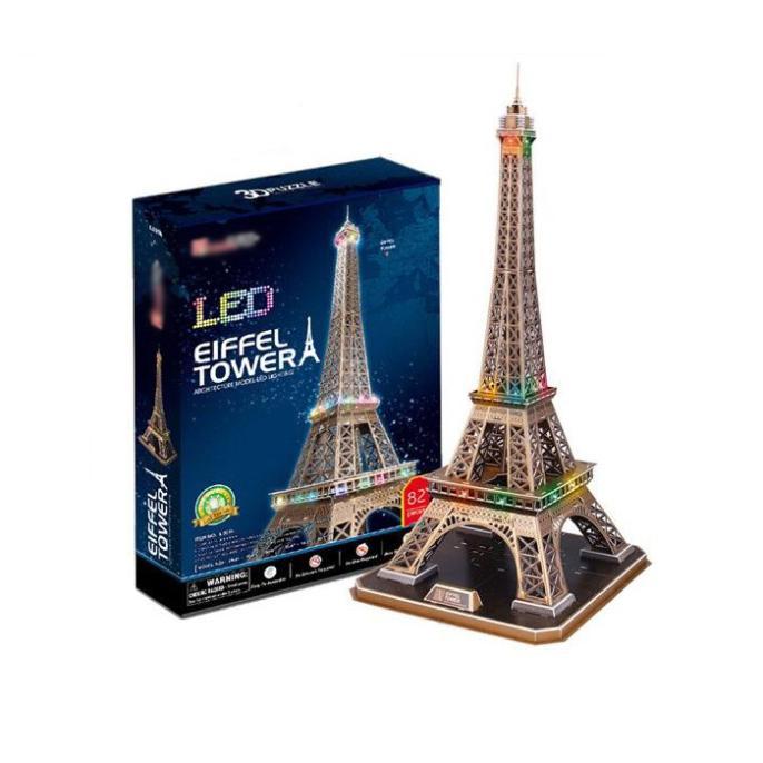T0393 3D Puzzles Paris Eiffel Tower DIY Building Paper Model Kids With LED Light 82 Pieces Creative Children's Educational Toys
