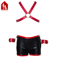 Davidsource Red Leather Chest Harness Black Leather Boxers Briefs With Handcuffs Wrist Cuffs Pup Leather Fetish Wear Sex Toy