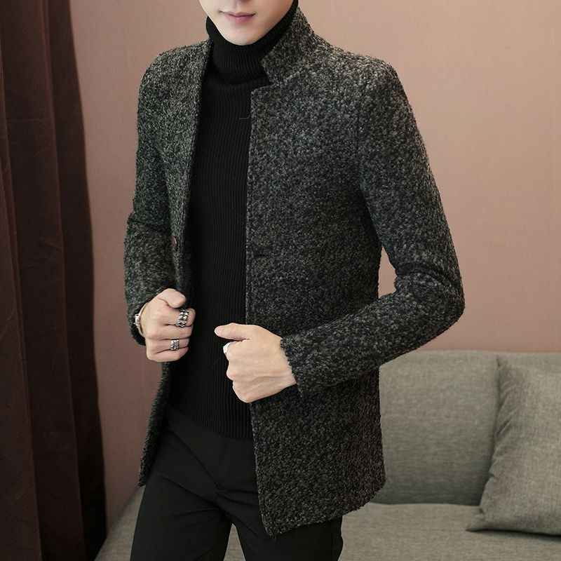 Male pure fashion coat collar men's wool coats in male long hot 2018 hot men's collar men's woolen coat trench coat New