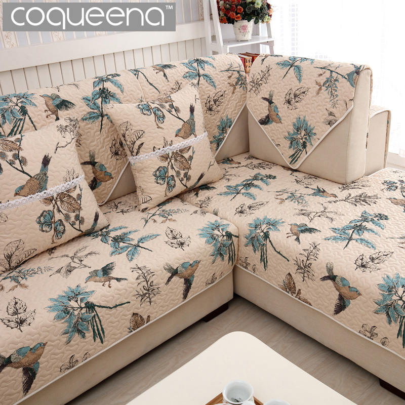 Vintage Birds Pattern Cotton Quilted Sofa Cover For Corner