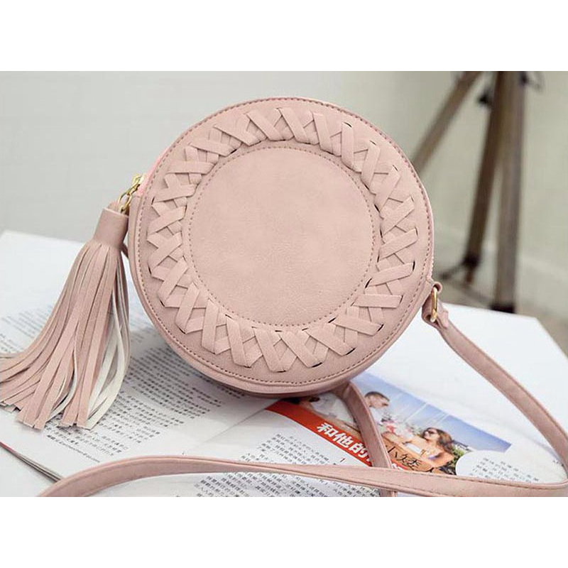 Fashion Round Women Tassel Bag Woven Crossbody Bags For Womens Shoulder Bag Ladies Cute Knitting Circular Women Messenger Bag