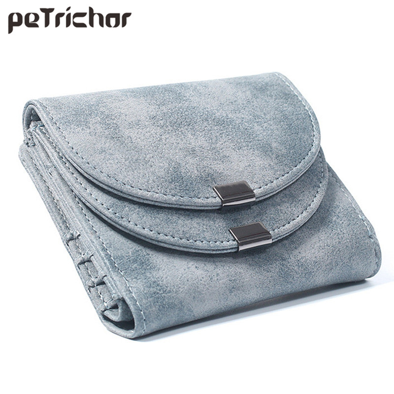цена Small Standard Wallet Solid Simple PU Leather Women Short Wallets Double Hasp Vintage Lady Girls Coins Purse Card Holder
