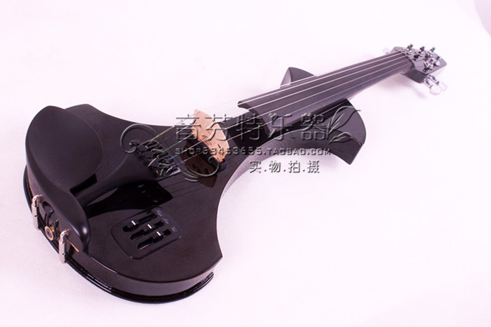 4/4 Electric Violin Solid wood Black White Big Jack Powerful Sound 5 String #4 001202 4 string black 3 4 new electric upright double bass finish silent powerful sound