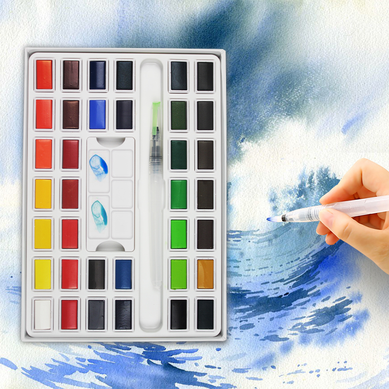 все цены на Superior 12/24/36Colors Solid Water Color Paint Set With Water Paint Brush Portable Pigment For Art Supplies Artist Watercolor онлайн