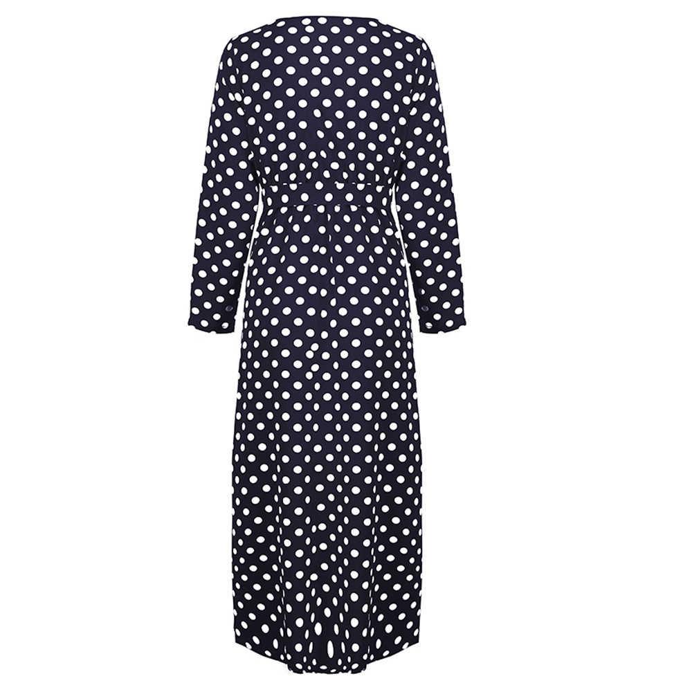 2019 חדש אביב V צוואר קצר שרוול מוצק שחור שיפון נקודות Loose גדול גודל XL ארוך מקסי פיצול שמלת נשים אופנה גאות 617 #3