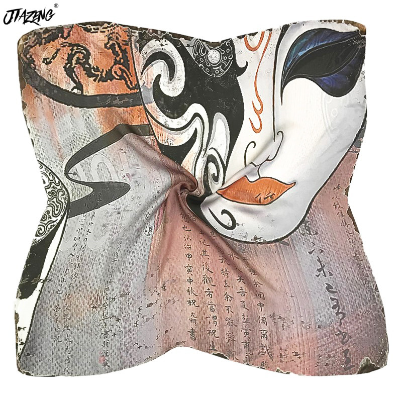 Original Chinese Opera Square Silk Scarf High Quality Head Wrap New Print Bandana Accessories 70*70cm Soft Shawl Scarf Brand Hot