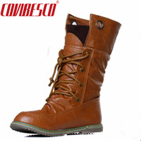 New Plus Size Vintage Motorcycle Martin Ankle Boots For Women Winter Autumn Snow Boots Leather Flats
