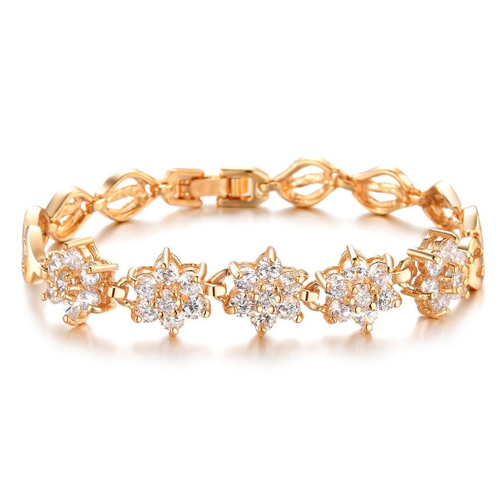 Women Link Chain Bracelets Romantic Flower Design Gold Color 1