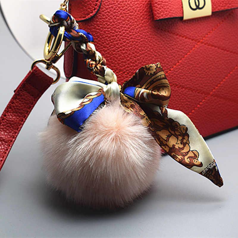 2017 nova bugiganga falso pompom keychain chaveiros no saco Chaveiro de pele de coelho pele de coelho pom pom encantos para sacos de anime