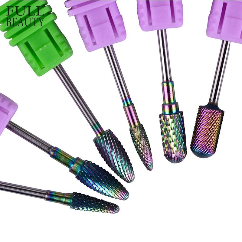 La belleza 6 Tipo de azul de Ronda llama uñas broca de carburo fresa manicura eléctrico accesorios uñas CHD01-06