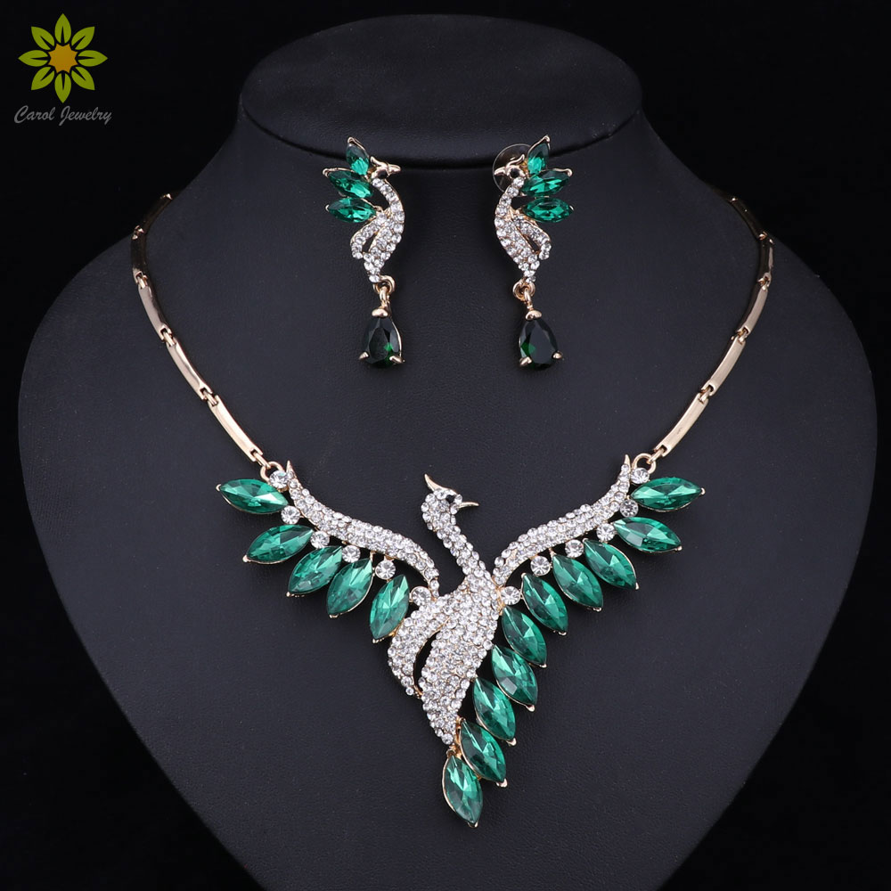 Nigeria Beaded Gold Color Jewelry Sets For Women Created Crystal/CZ Peacock Pendant Necklace Earrings Party Wedding Accessories vanaxin cz crystal 100 pendant necklace for men punk hiphop jewelry cz gold color unisex necklace fashion women accessories gift