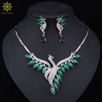 Nigeria Zroszony Złoty Kolor Zestawy Biżuterii Dla Kobiet Utworzony Krystalicznie/CZ Peacock Wisiorek Naszyjnik Kolczyki Wedding Party Akcesoria