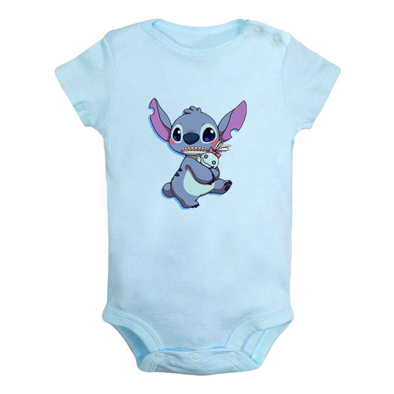 Cute Lilo & stitch Ohana family Pokemon pikachu Design Newborn Baby Boys Girls Outfits Jumpsuit Print Infant Bodysuit Clothes
