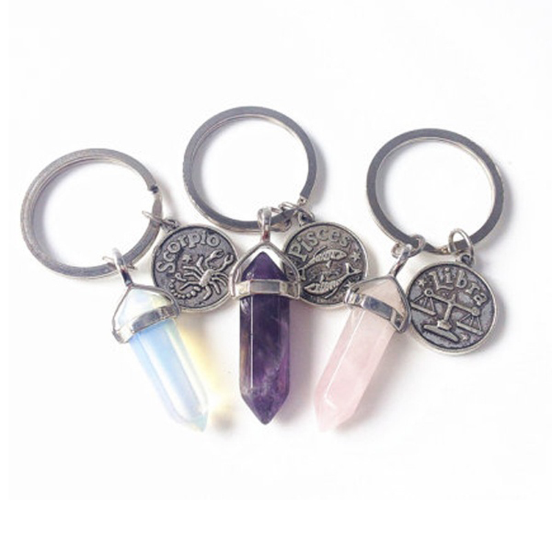 Doce Constelaciones Aries Boho Zodiac Coin Llavero Point Crystal Key Ring Sister BFF Gift Keyfob Key Holder Fashion Jewlery