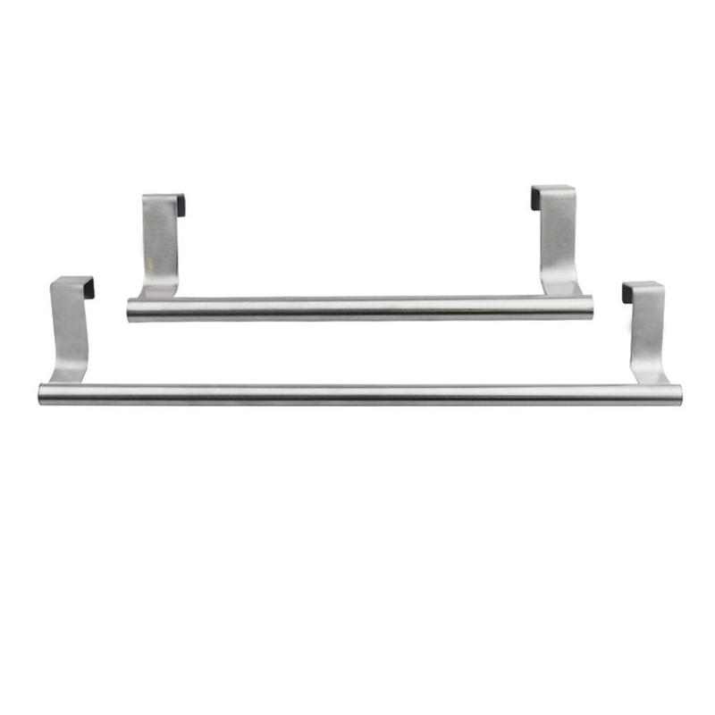 Stainless Steel Towel Rod Racks Can Bath Towel Rod Non-punching Rack Single-pole Cabinet Bath Kitchen Door Clothes Holder