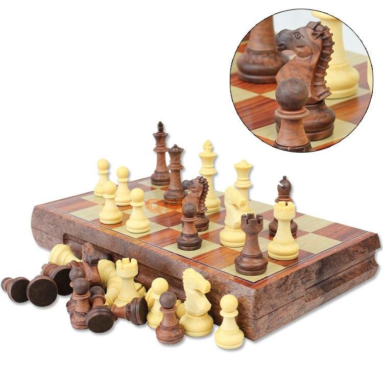 Nova versão inglesa do jogo de xadrez da placa da grão do wpc da madeira magnética de alta qualidade com o rei de 72mm alto