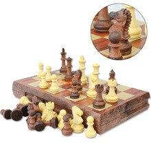 Nouveau International D'échecs Checkers Pliant Magnétique de Haute qualité bois WPC grain Échiquier Jeu Anglais version avec 72mm roi Haute