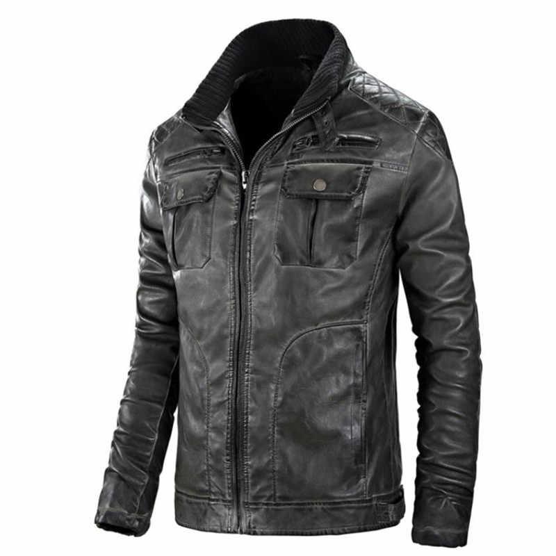 2018 осенняя и зимняя распродажа Качественная мужская кожаная куртка мотоциклетная одежда Теплая мужская куртка из искусственной кожи плюс размер пальто