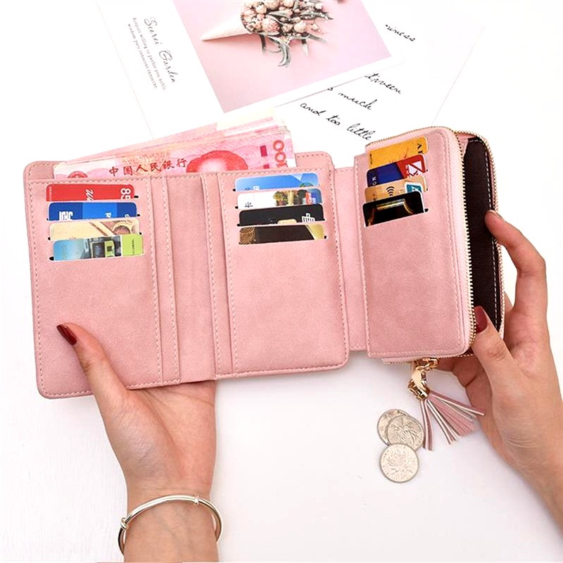 Small Wallet Women Zipper Lock Tassel Coin Purse Female Purse Large Capacity Card Holder Multi function Ladies Wallets Short in Wallets from Luggage Bags