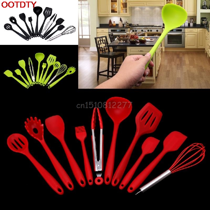 10Pcs Heat Resitant Non-stick Silicone Kitchen Utensils Set Cooking Bake Tool #H0VH#