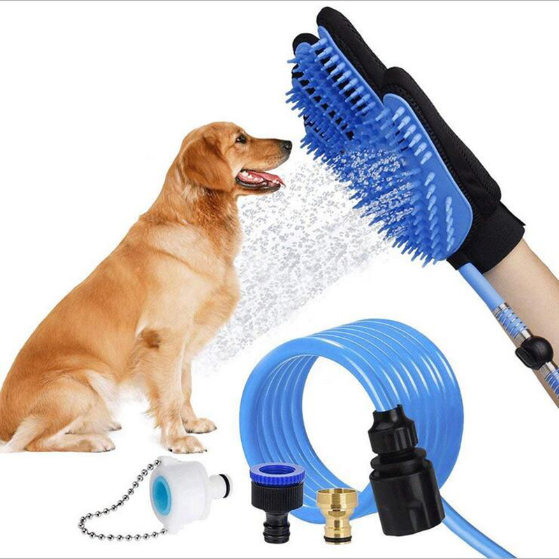 Pet Silicone Bath Brush Dog Supplies Massage Gloves Water Cleaning Bath Nozzle Dog Hair Brush