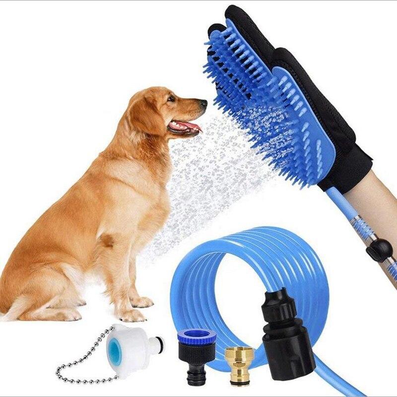 Pet silicone bath brush dog supplies massage gloves water cleaning bath nozzle dog hair brush