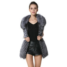 Winter Womens Real Silver Fox Fur Long Style Solid coat Turn-down Collar Design Genuine Full Pelt Vests with Pockets AU00959