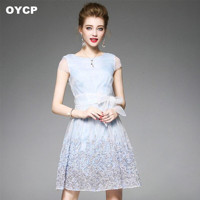 Us 5605 5 Offoycp Light Blue 3d Flower Midi Dress Women Boho Tunic Mesh Lace Dress High Waist Sky Blue Bow Summer Dress 2018 In Dresses From