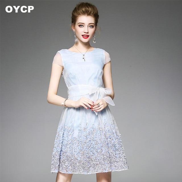 6aa908627d3 OYCP light blue 3D flower midi dress women boho tunic mesh lace dress high  waist sky blue bow summer dress 2018