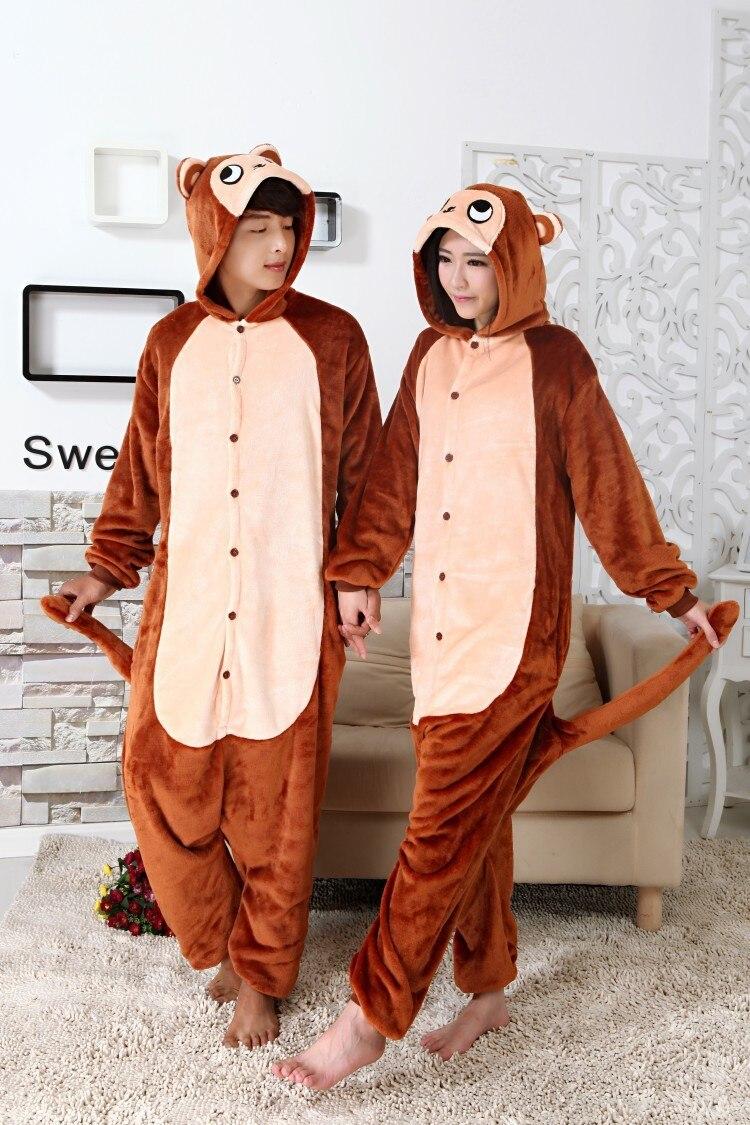 Кигуруми новый коричневый обезьяна Onesie пижамы животных зима взрослые  комбинезоны Хэллоуин косплэй костюм подарок Вечерние 3816e9eb68c0a