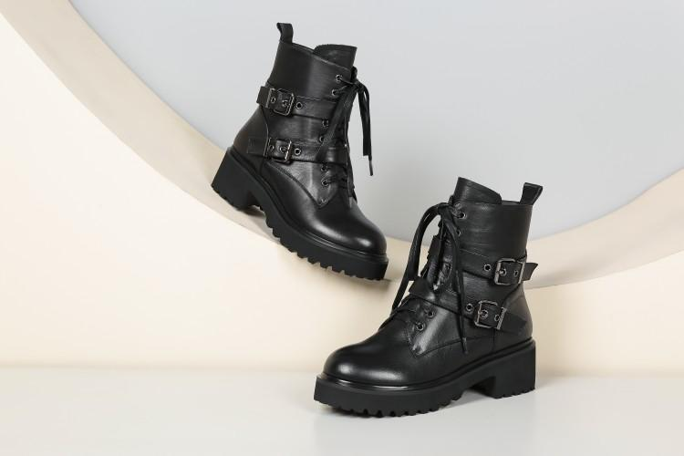 Noir Attaché As Rond 2018 Deux Chaussures Boucle Cuir En Femmes Croix D'hiver Pour Bottes Show Chunky Talon Cheville Bout Véritable EqnBWxzA