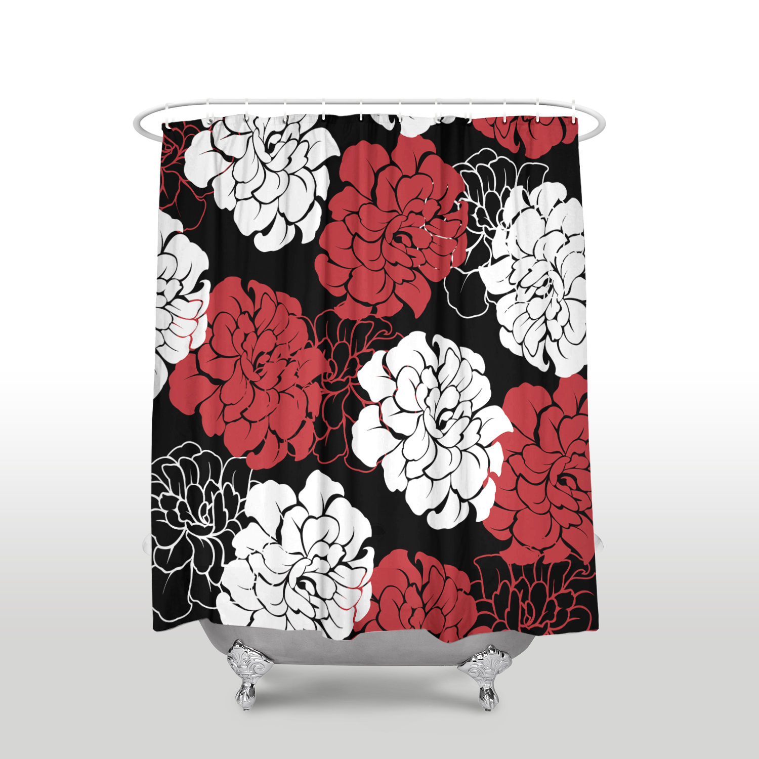Peony Pattern Shower Curtain Waterproof Polyester Fabric Flower Bathroom Decor Printed Red Black White