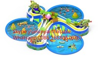 Factory direct inflatable castle slides Pool slide, large water park KY 711