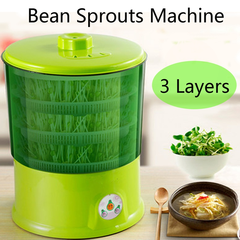 Warmtoo 1.5L 220v Bean Sprouts Machine Automatic Bean Sprouts Machine Multifunctional Homemade Sprout Double Layer Ntelligent 48 boxes rootless mung bean sprout machine bean sprouting machine