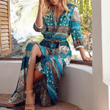Bohoartist Boho Beach Maxi Dress Women Floral Print Sexy Split V Neck Holiday Long Dresses Summer Fashion Female Hippie
