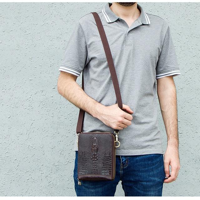 Men's Genuine Leather messenger bag Vintage Shoulder Bags Crocodile Crossbody Bags for men with Mobile Phone Pouch Waist Bag 5