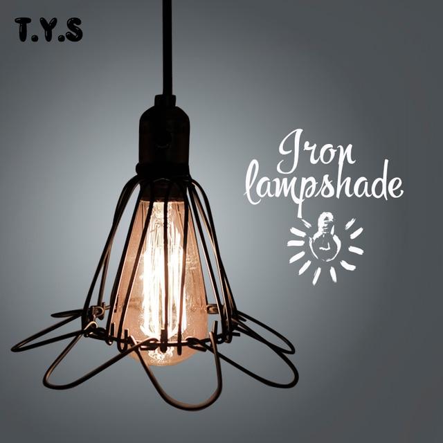 Vintage Pendant Light Lamp Cover Shade Guard Black Metal Bulb ...
