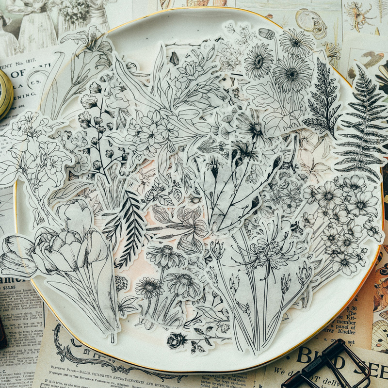 Autocollants Vintage Style fleurs bricolage | Étiquette Scrapbooking/fabrication de cartes, en papier vélin, 58 pièces