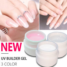 1Pcs Pink / White / Clear UV Gel Crystal Nails Transparent Uv Builder Gel for French Art Tips Manicure Set Extension Gel(China)