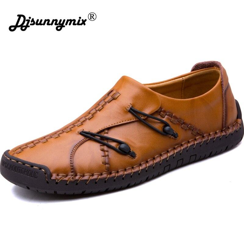 DJSUNNYMIX New Roman Men Causal Shoes Genuine Leather handmade  Men Shoes