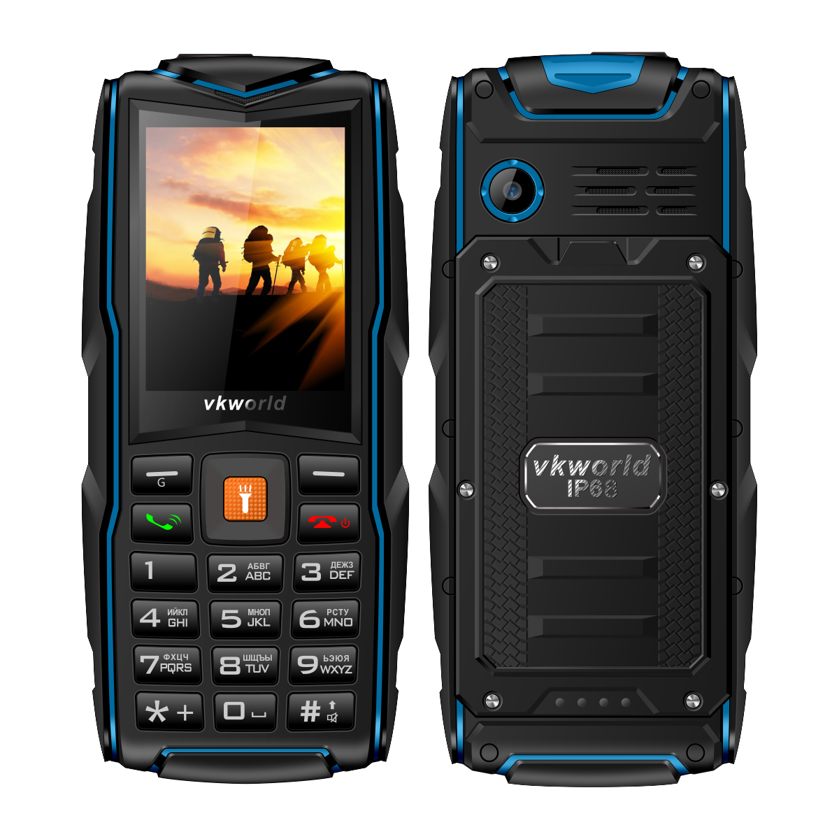 Vkworld New Stone V3 Quad Band Unlock Phone Russian Keypad SC6531CA IP68 Waterproof Power Bank Bluetooth