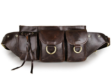 JMD Vintage Genuine Leather Waist Bag Dark Coffee Mens Fanny Pack 3014Q