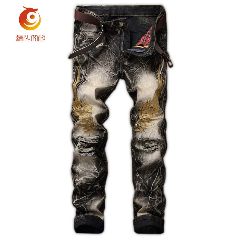 New Vintage Style Mens Jeans Straight Slim Fit Embroidery Wing Printing Pattern Comfortable Mid Waist Mens Streetwear Jeans