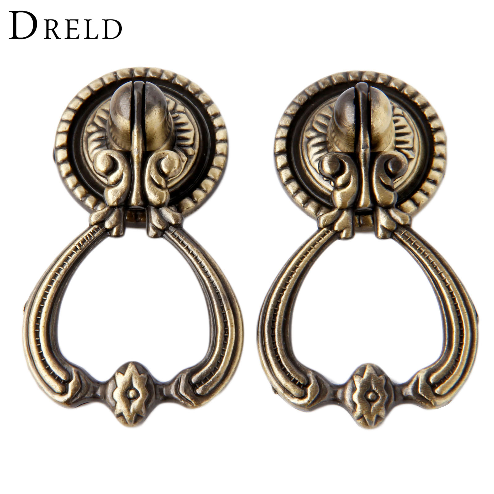 DRELD 2Pcs Antique Brass Furniture Handles Vintage Cabinet Knobs and Handles Door Closet Cabinet Drawer Pull Handle for Kitchen dreld teapot antique furniture handle alloy drawer door knobs closet cupboard kitchen pull handle cabinet knobs and handles
