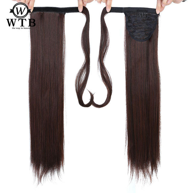 WTB 24'' Long Silky Straight Ponytails Clip In Synthetic Pony Tail Heat Resistant Fake Hair Extension Wrap Round Hairpiece